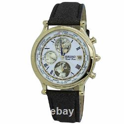 Seiko Essentials World Time White Dial Leather Band Men's Watch SPL060