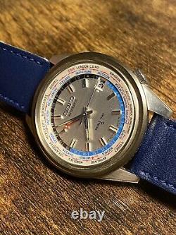 Seiko Vintage 6117 6010 World Time Gmt Worldtimer No 6139 Pogue Bullhead Watch