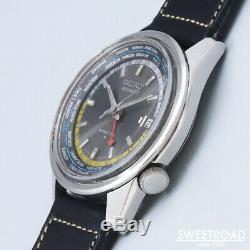 Seiko World Time 6117-6010 Vintage GMT Date 2nd Automatic Mens Watch Auth Works
