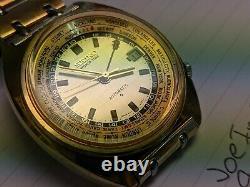 Seiko World Time GMT 6117-6409 overhaul on 08/05/20 All original Rare Gold Tone