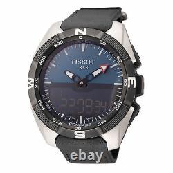 Tissot Men's T0914204604100 T-Touch Solar 45mm Blue Dial Leather Watch