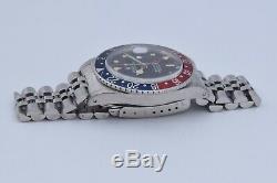 Vintage 1984 Rolex GMT Master Swiss Watch Jubilee Pepsi Bezel Black Dial 16750