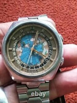 Vintage Edox Geoscope Automatic World Time 24 Hour Map Dial Swiss 2774 See Video