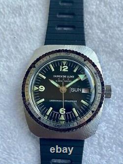 Vintage GMT IMPEX DELUXE DIVER bezel 17 Jewels SWISS Watch Fully Serviced