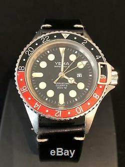 Vintage Navy Diving Watch YEMA Superman II Worldtime (GMT) Quartz 300 M RJOQ56