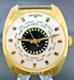 Vintage Paul Garnier GMT World Time Manual Wind Men's Watch NOS never worn