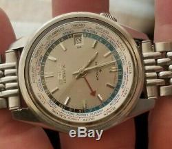 Vintage Rare Seiko 6117-6010 Navigator Worldtime GMT 38mm Automatic Watch