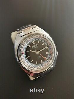 Vintage Seiko World Time GMT 6117-6400 Rare Linen Dial Mint Condition