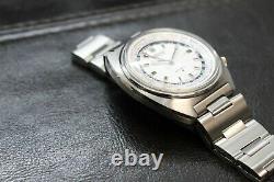 Vintage Seiko World Time automatic 6117-6400 White Dial With Bracelet GMT SS