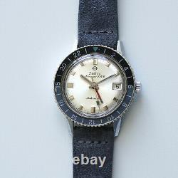 Vintage Zodiac Aerospace GMT Automatic Silver DIal -Black/Grey Bezel Ref 752 934