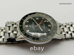 Zodiac Aerospace Gmt Diver 752-934 Vintage Watch For Men Circa 1968, Good Cond